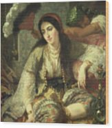 Odalisque Wood Print by Jean Baptiste Ange Tissier