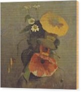 Odilon Redon - Vase With Poppy, Camomile And Bindweed Wood Print