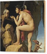 Oedipus And The Sphinx Wood Print