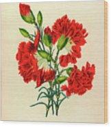 Oeillet Rouge Wood Print
