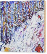Off Piste In The Woods Above Morzine Wood Print