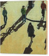 Off To Work Shadows - Painting Wood Print