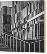 Office Buildings Reflections Wood Print