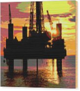 Offshore Drilling Rig Sunset Wood Print