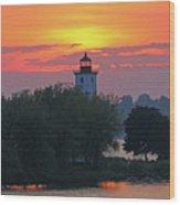 Ogdensburg Lighthouse At Sunset 6695 Wood Print