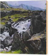 Ogwen Rock Waterfall Wood Print