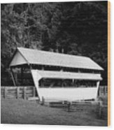 Ohio Covered Bridge In Black And White Wood Print