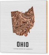 Ohio Map Art Abstract In Brown Wood Print