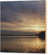 Ohio River Sunset Wood Print by Sandy Keeton