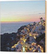 Oia Village In Santorini Island - Greece Wood Print