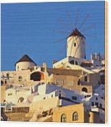 Oia Windmill Wood Print