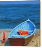 Oil - Rescue Boat Wood Print