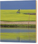 Oil Jack Reflection Saskatchewan Wood Print