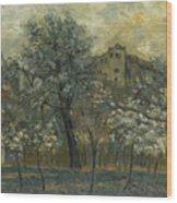 Oil Painting House Tree Wood Print