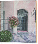 oil painting print art for sale Pink Wall and Door   Wood Print
