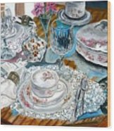 Oil Painting Still Life China Tea Set Wood Print