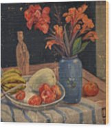 Oil Painting Still Life Vase Fruits Wood Print