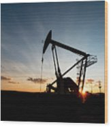 Oil Pumper At Sunset Wood Print