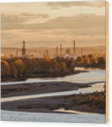 Oil Refinery At Sunset Wood Print