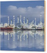 Oil Refinery Industry Plant Wood Print