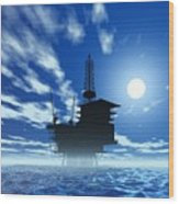 Oil Rig, Artwork Wood Print by Victor Habbick Visions