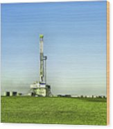 Oil Rig In North Dakota Wood Print