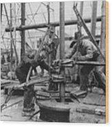 Oil Rig Workers, Called Roughnecks Wood Print