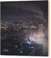Oil Style City At Night Image Wood Print