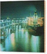 Oil Tanker In Port At Night. Wood Print