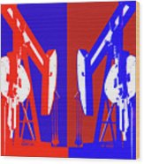 Oil Well Pump Abstract Wood Print