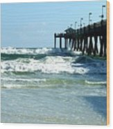 Okaloosa Pier Breaking Wood Print