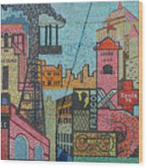 Oklahoma City Bricktown Mosaic Wall Wood Print
