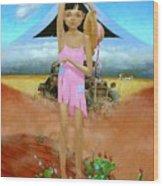 Oklahoma Girl With Mt.fuji Wood Print