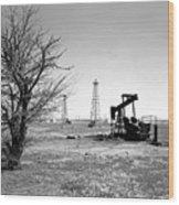 Oklahoma Oil Field Wood Print by Larry Keahey