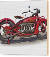 Old 1930's Indian Motorcycle Wood Print by Mamie Thornbrue
