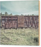 Old Abandoned Box Cars Central Vermont Wood Print