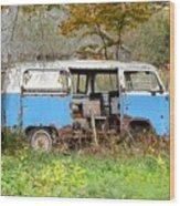 Old Abandoned Hippie Van Wood Print