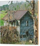 Old Abandoned Rural Hose Wood Print