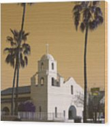 Old Adobe Mission Poster Wood Print
