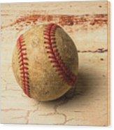 Old American Baseball Wood Print