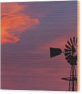 Old American Farm Windmill With A Sunset  Wood Print