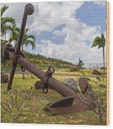 Old Anchor In Kauai Wood Print