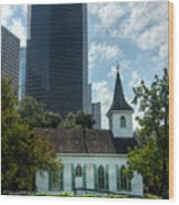 Old And New Houston Wood Print