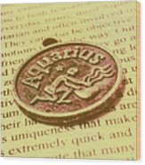 Old Aquarius Astrology Wood Print