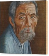 Old Asian Worker Wood Print
