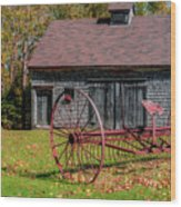 Old Barn And Rusty Farm Implement 02 Wood Print