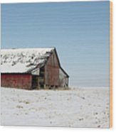 Old Barn And Snowy Prairie Wood Print