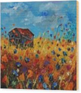 Old Barn And Wild Flowers Wood Print