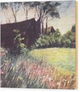 Old Barn And Wildflowers Wood Print