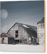 Old Barn And Winter Moon - Snowy Rustic Landscape Wood Print